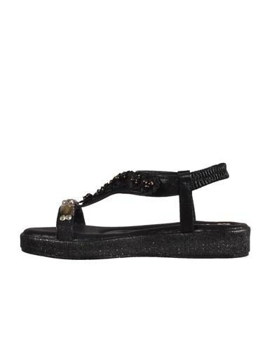 Mhd 3202 Platin Kadın Sandalet Siyah